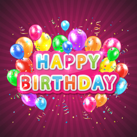 balon: The words Happy Birthday with balloons, confetti and tinsel on pink background, illustration
