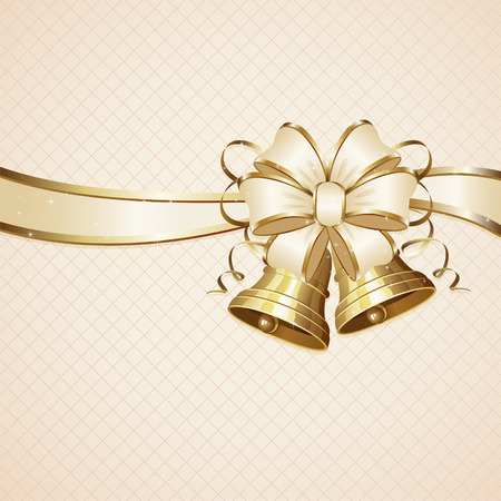 golden ribbon: Christmas background with two bells and bow, illustration