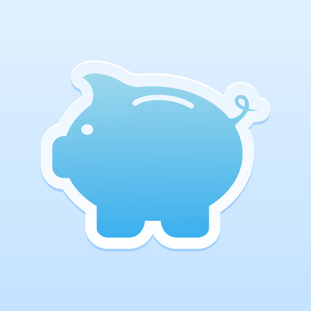 piggy bank: Paper moneybox in the form of pig on blue background, illustration