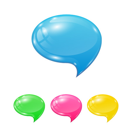 colored balloons: Set of colorful speech bubbles isolated on white background, illustration