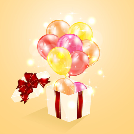 giftbox: Open present with balloons on orange blurry background, illustration