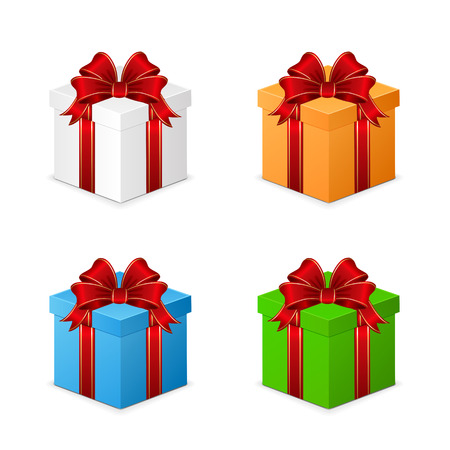 blue box: Set of colorful gift boxes isolated on white background, illustration