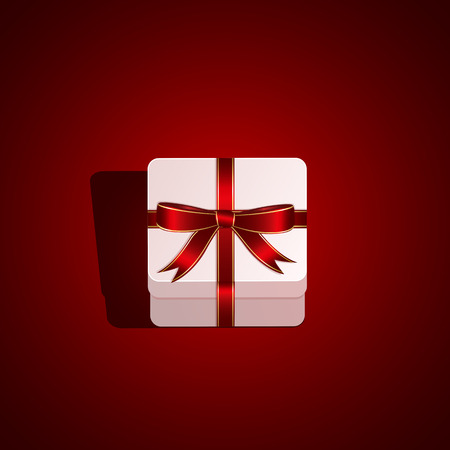 st valentin: Gift box with bow on red background, illustration
