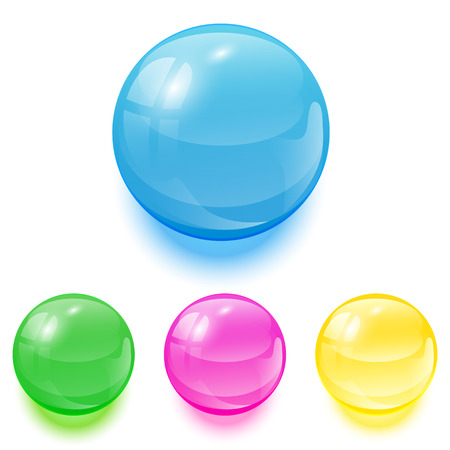 Set of colorful balls on white background, illustration. Vector
