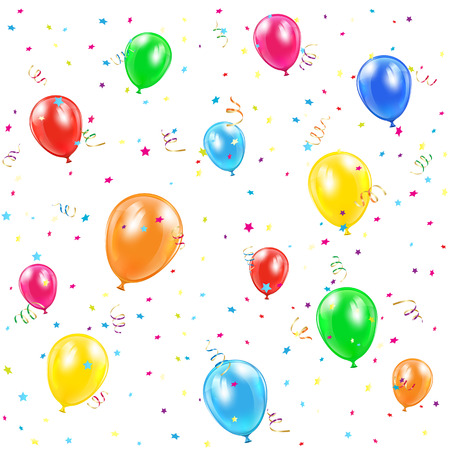 balon: Happy Birthday background with balloons, confetti and tinsel, illustration