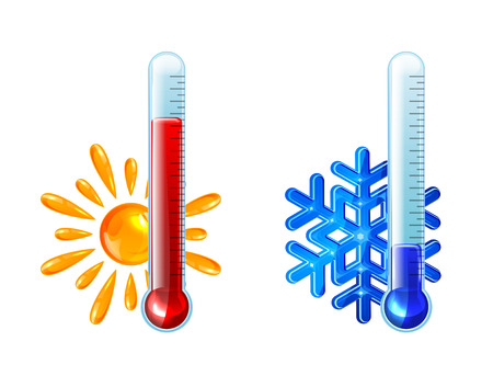frio: Conjunto de termómetros con indicador de color rojo y azul sobre fondo blanco, ilustración
