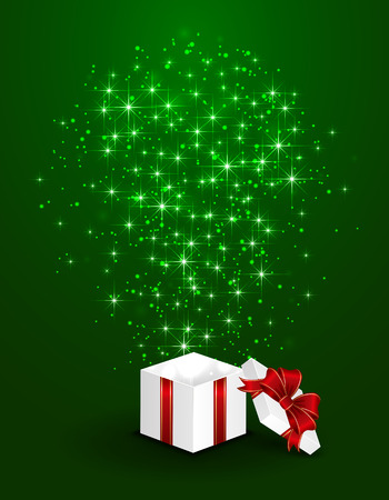 Open gift box with shining stars on green background, illustration  Vector