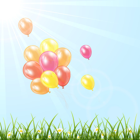 balon: Set of colorful balloons fly in the sky over grass, illustration