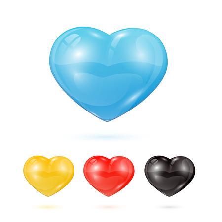 st valentins day: Set di cuori di vetro isolato su sfondo bianco, illustrazione. Vettoriali