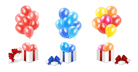 Set of gift boxes with colorful balloons isolated on white background, illustration.  Vector