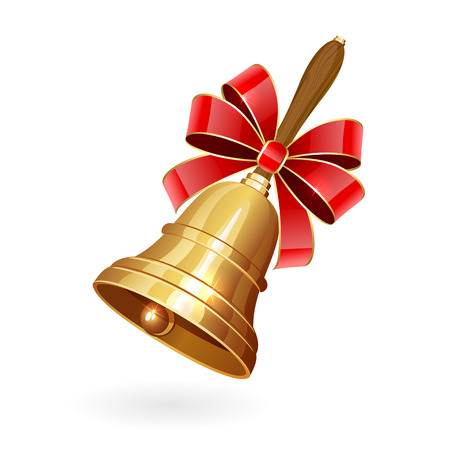 Gold school bell with bow isolated on white background, illustration. Illustration