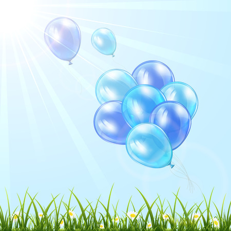 balon: Set of blue balloons fly in the sky over grass, illustration.