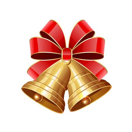 campanas de navidad: Dos campanas de Navidad con lazo rojo aislado en fondo blanco, ilustración