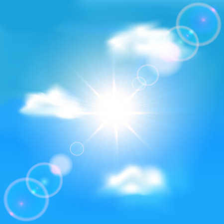 clear sky: Sun shining in clear sky with clouds, illustration