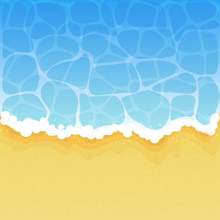 Ocean wave on a sandy beach, illustration