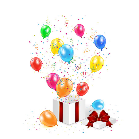 Gift box with balloons, confetti and tinsel on white background, illustration   Vector