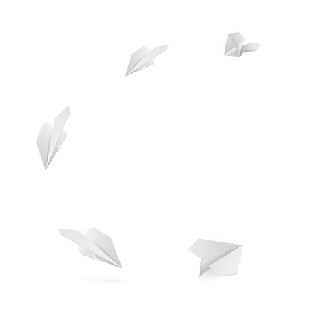 Set of flying paper planes isolated on white background, illustration  Vector