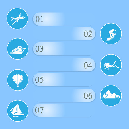 Set of infographics with travel icons on blue background, illustration  Vector