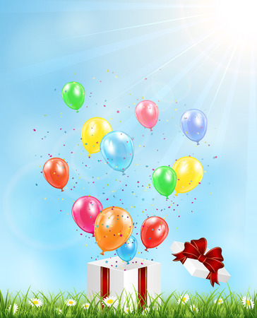 Gift box with balloons, confetti and tinsel on grass, illustration   Vector