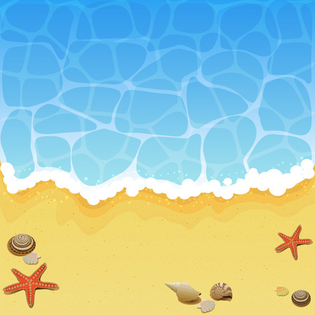 Ocean wave on a sandy beach with shells and starfish, illustration