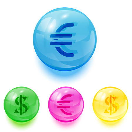 currency glitter: Set of colorful balls with euro and dollar icons on white background, illustration