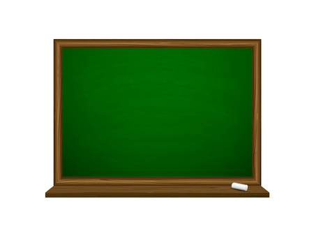 Green chalkboard with chalk isolated on white background, illustration