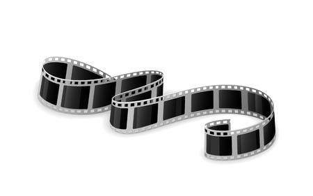 Twisted cinema film isolated on white background, illustration