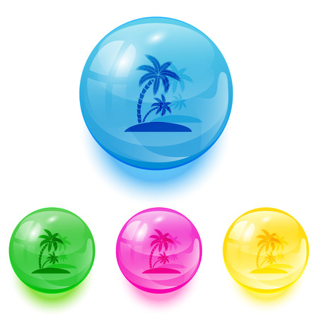 Set of colorful balls with palms icons on white background, illustration  Vector