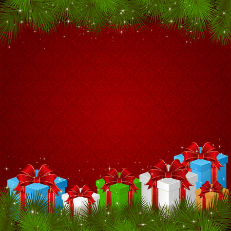christmas tree illustration: Red wallpaper with gift boxes and branches of Christmas tree, illustration  Illustration