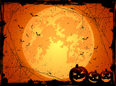 Horizontal Halloween night background with Moon, spiders and Jack O