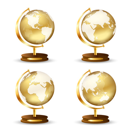 Set of golden globe isolated on white background, illustration  Vector