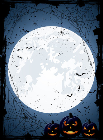 Blue Halloween night background with Moon, spiders and Jack O