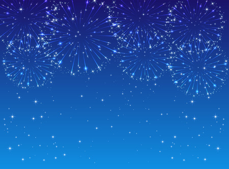 Shiny fireworks with stars on blue background, illustration  Vector
