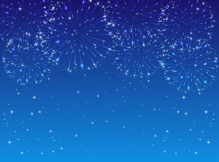 fireworks background: Shiny fireworks with stars on blue background, illustration
