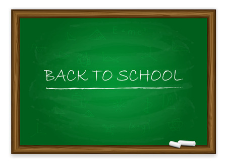 Words back to school written on a green chalkboard with chalk isolated on white background, illustration  Vector