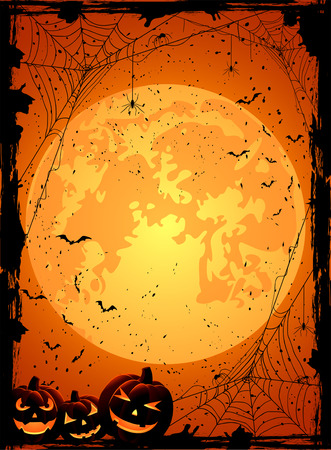 Vertical Halloween night background with Moon, spiders and Jack O