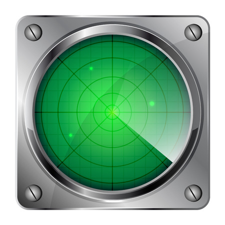 military aircraft: Green radar icon isolated on white background, illustration.
