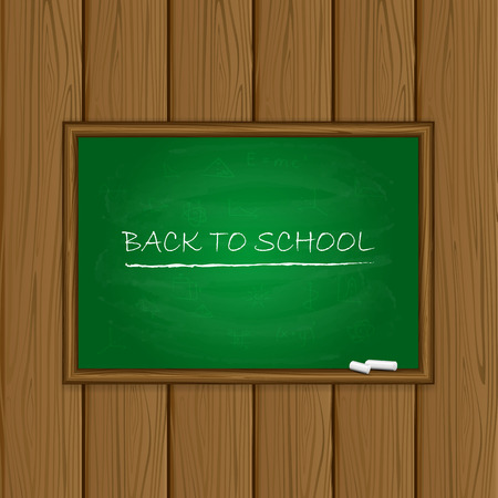 Words back to school written on a green chalkboard with chalk on wooden background, illustration. Vector