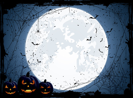 Halloween night background with Moon, spiders and Jack O' Lanterns, illustration. 矢量图像
