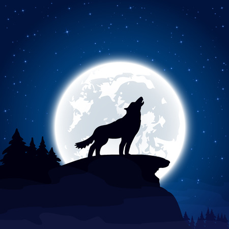 halloween tree: Halloween night background with wolf and Moon, illustration. Illustration