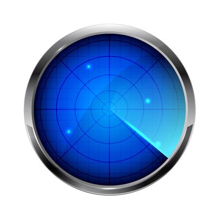 Blue radar icon isolated on white background, illustration. Vector