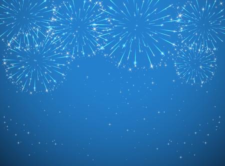 Stars and shiny fireworks on blue background, illustration. Illustration
