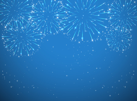 Stars and shiny fireworks on blue background, illustration. Ilustração