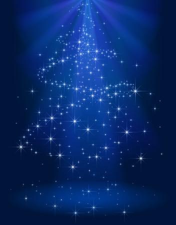 Blauwe glanzende achtergrond met sterren in de vorm van een kerstboom, illustratie. Stock Illustratie