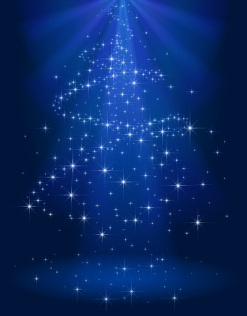 sparkles: Blue shining background with stars in the form of Christmas tree, illustration.