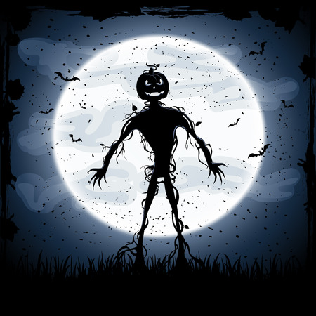 Halloween night background with full Moon and monster, illustration Illustration