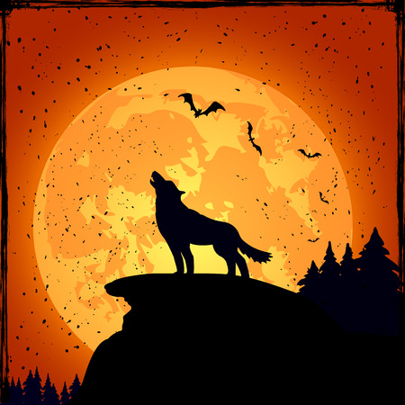 Grunge Halloween night background with wolf and full Moon, illustration  Illustration