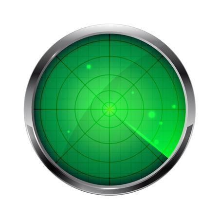 緑のレーダー、白い背景、イラストに分離された円形のアイコン