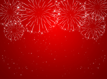 Stars and shiny fireworks on red background, illustration