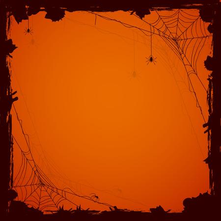 Grunge Halloween background with black spiders, illustration.